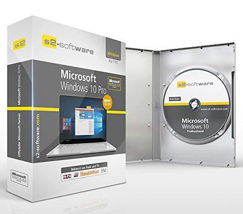 Original Microsoft Windows 10 Professional 64bit ISO DVD + Lizenz - inkl. aller aktuellen Updates. DVD Box S2 Software PRO mit Lizenzunterlagen & Lizenzkey