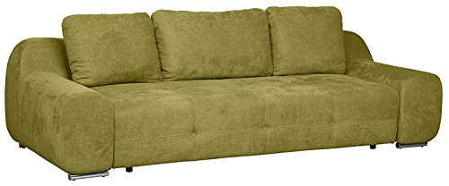 Cavadore Big Sofa Benderes / Schlafsofa / Bettfunktion / Moderne Couch /mit Steppung und Ziernaht / Mit Kisseneinsatz / Chromfüße / 266 x 70 x 102 (B x H x T) / Farbe: Grün
