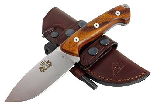 AXARQUIA COCO - Premium Qualität - professionell Überlebensmesser, Gürtelmesser, Outdoor/Survival Messer, Jagdmesser, Stahl MOVA-58, Lederscheide + Feuerstahl. Entworfen und Hergestellt in Spanien.