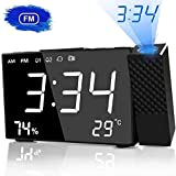 HQQNUO Wecker mit Projektion radiowecker Digital 20 FM-Radio 6,3-Zoll-Projektionsuhr mit Zwei Alarmen, Snooze-Funktion EU-Stecker 12/24 Hour für Schlafzimmer, Zuhause, Büro
