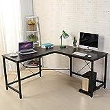 soges Computertisch L-Form Arbeitstisch Winkelschreibtisch Eckschreibtisch Schreibtisch mit CPU-Ständer,150CM + 150CM,Farbe in Schwarz