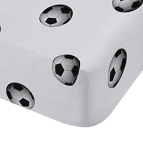 Catherine Lansfield Fußball Reichhaltige Spannbettlaken für Einzelbetten, Polyester-, Multi, 190x 90x 0,4cm