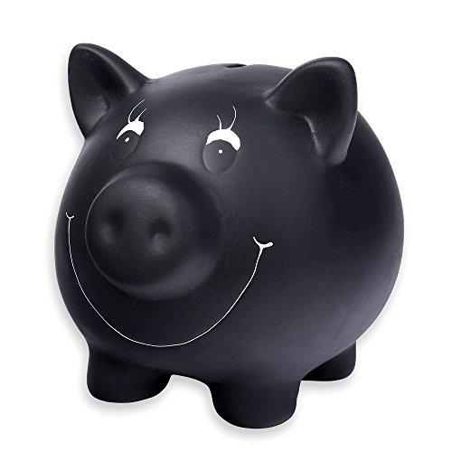 Schramm Sparschwein schwarz aus Keramik mit Tafellack beschreibbar mit Kreide Spar Schwein Schweine inklusive Kreide und verschließbar