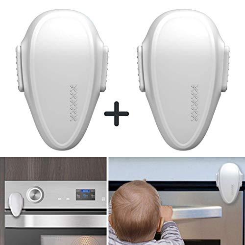 Backofentür Kindersicherung, 2er Set Ofentür Sperre zum Kleben, mit Doppel-Druck-Knopf I spezielI hitzeresistenter Kleber, universal verwendbar auf GLATTEN Oberflächen, Rückstandlos entfernbar