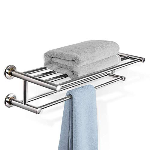 DREAMADE Handtuchablage Bad, Badetuchablage Edelstahl, Handtuchstange mit 2 Ablagen, Handtuchständer Wand Handtuchhalter, Badetuchstange Ablage für Badezimmer, Küche