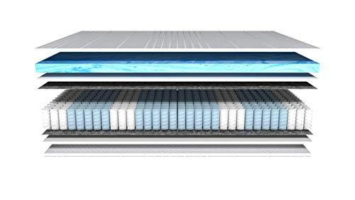 AM Qualitätsmatratzen - Gelschaum-Matratze 90x200cm H3 - Taschenfederkernmatratze Gelschaum 90 x 200 - Matratze mit integrierter 6cm Gelschaum-Auflage - 25cm Höhe - Made in Germany
