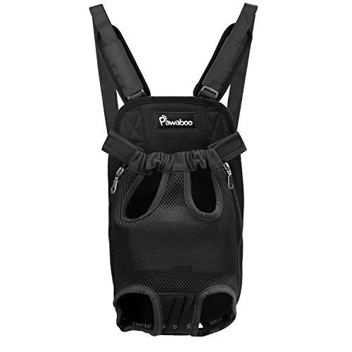 Pawaboo vorne Hunde Rucksack – verstellbar Haustier Katze Tasche Tragetasche Hundetasche Hundetragetasche für Outdoor, Reise, Camping, Wandern, XL Größe, bis 10 kg, Schwarz