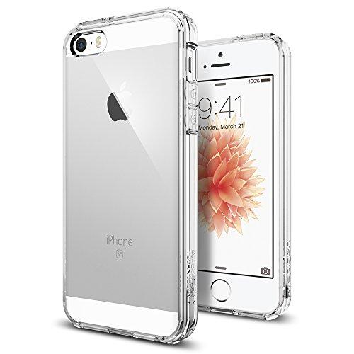iPhone SE Hülle, Spigen iPhone 5S/5/SE Hülle [Ultra Hybrid] Luftpolster-Technologie [Crystal Clear] Durchsichtige Rückschale und Transparent TPU-Bumper Schutzhülle für iPhone SE/5S/5 Case, iPhone SE/5S/5 Cover - Crystal Clear (SGP10640)