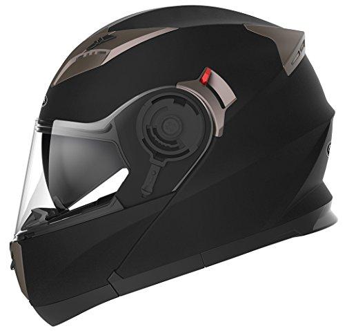 Motorradhelm Klapphelm Integralhelm Fullface Helm - Yema YM-925 Rollerhelm Sturzhelm mit Doppelvisier Sonnenblende ECE für Damen Herren Erwachsene-Schwarz Matt-L