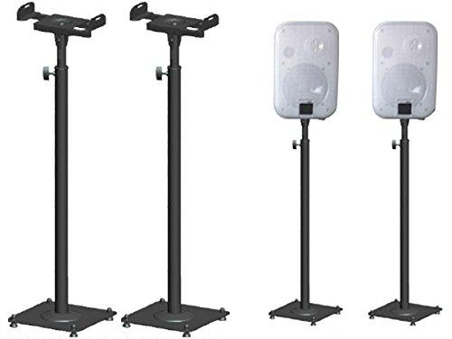 2 Stück Boxenständer aus Metall Lautsprecherständer Box Lautsprecher höhenverstellbar mit Kabelkanal schwarz Ständer Modell: BS16Bx2