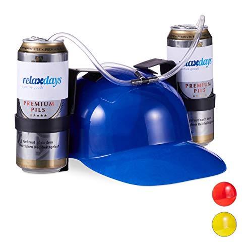 Relaxdays 10022789_45 Party Trinkhelm, Helm mit Schlauch, für 2 Dosen Bier, Spaßartikel Fasching u. Fußball, lustiger Bierhelm, blau, Unisex– Erwachsene 13 x 32 x 28 cm