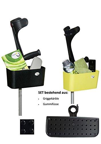 Griggekärble - Transporthelfer für Gehstützen/Krücken schwarz + Gummifüsse, SET