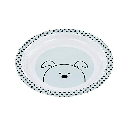 Lässig 1310009524 Teller mit Silikonboden/Plate with silicone Little Chums Dog, mehrfarbig