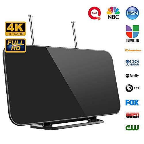 【2019 Neueste】 TV Antenne, Digitale Innenantenne HDTV Zimmerantenne für Fernseher 50-80 Meilen Reichweite mit Smart IC Chip 3M Kable Geeignet für 1080P 4K HD/UHF/VHF/FM Kostenlose TV-Kanäle usw