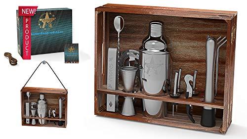 VinoYes Cocktail Shaker Set - 16 Teiliges Premium Profi Bar Werkzeug aus Edelstahl in Einer tollen Holzkiste und Rezeptbuch - Mixer Set mit Ständer in Edler Geschenkbox.