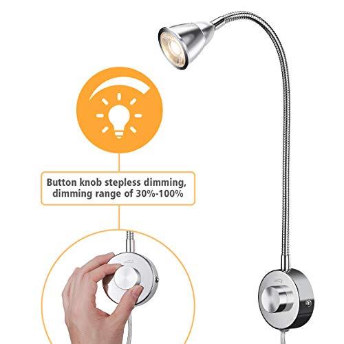 KINGSO LED Leselampe Wandlampe Leselicht dimmbar mit Drehschalter bettleuchte led schwanenhals 3W 200lm Warmweiß für Schlafzimmer Wohnzimmer Büro