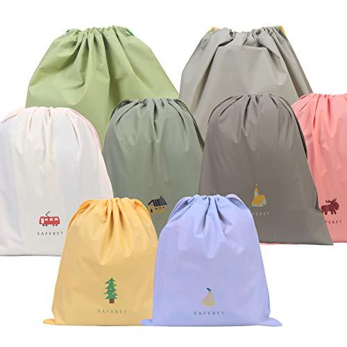ZERHOK 8tlg Packbeutel Bunt Stoffsack Wasserdicht Tunnelzug Packsack Organizer Reise Tasche mit 3 Größen Beutel für Kosmetik Unterwäsche Schuhe
