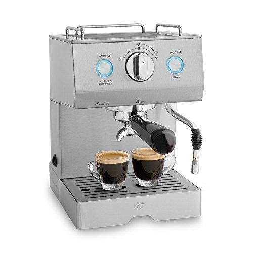 Edelstahl Espressomaschine   1140 W, 15 bar, 1,5 L   Siebträgermaschine, Kaffeemaschine mit Milchaufschäumer-Funktion, Espresso-Automat Emilia + Espresso-Guide (PDF)