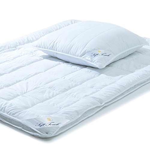 aqua-textil Bettdecken Set 4 Jahreszeiten 135x200 1x Kopfkissen 80x80 Steppdecke Winter Sommer Mikrofaser Steppbetten kochfest Soft Touch 0011640
