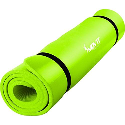 MOVIT Pilates Gymnastikmatte, Yogamatte, phthalatfrei, SGS geprüft, L 190cm x B 60cm, Stärke 1,5cm, Hellgrün