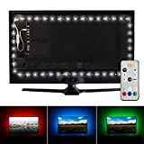 Luminoodle Professional Bias Lighting for HDTV | 15 Colors + 6500K True White LED TV Backlight | fits 55' to 75' TV | High Quality Adhesive RGB+W Strip Lights with Wireless Remote, Dimmer - X-Large