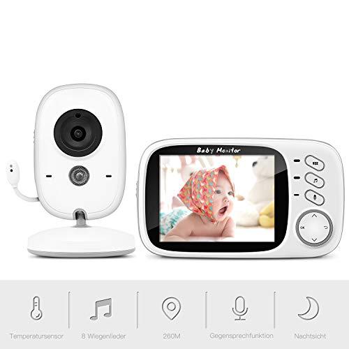 Babyphone mit Kamera, BOIFUN Smart Baby Monitor Video Überwachung mit 3.2' Digital LCD Bildschirm Wireless, VOX, Nachtsicht, Wecker, Temperaturüberwachung, Gegensprechfunktion, Wiederaufladbar