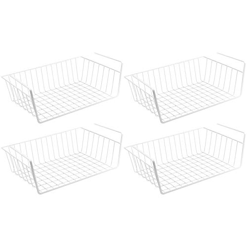 Wellgro 4er Set Schrankkörbe zum Einhängen aus Metall - ca. 41 x 26 x 15 cm (LxBxH) - schaffen Sie zusätzlichen Platz - weiß