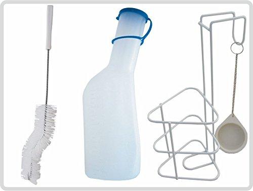 Urinflaschen-Set ' Das Profimodel ' Urinflasche mit Bürste und Halterung, milchig