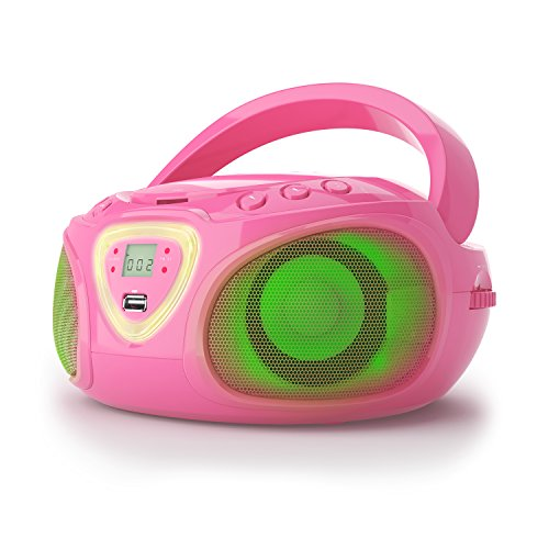 auna Roadie Ghettoblaster Boombox (CD-Player, USB-Port, MP3, Radio, Bluetooth 2.1, LED) pink