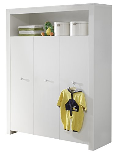 trendteam Babyzimmer Kleiderschrank, Schrank Olivia, 130 x 186 x 54 cm in Weiß  mit viel Stauraum