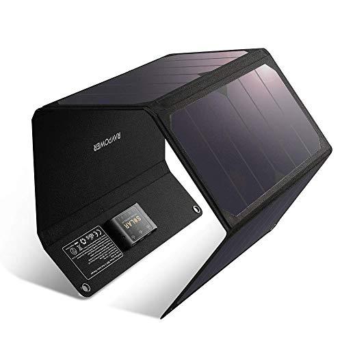 RAVPower Solar Ladegerät 28W Wasserdicht Solarpanel USB Charger Outdoor mit 3-USB-Port für Handy, Tablets, Smartphone, mit 21,5-23,5% Umwandlungseffizienz, Ideal für Camping, Wandern