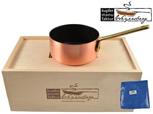 Kupfermanufaktur Weyersberg Kupfer Pfanne Butterpfännchen Keramik Induktion 10 cm ohne/mit Gravur + Prymo Mikrofasertuch Farbe 1 OHNE Gravur, Größe induktionsfähig