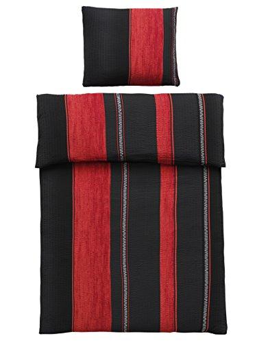 4-Teilig Microfaser Seersucker Bettwäsche schwarz, rot mit Reißverschluss 2x 135x200 Bettbezug + 2x 80x80 Kissenbezug , Öko-Tex Standart 100