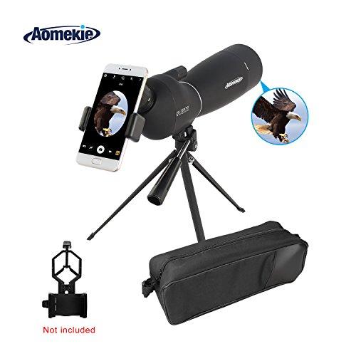 Aomekie 25-75X70 Zoom Spektiv Wasserdicht 45 Grad abgewinkelt Okular Fernrohr Teleskop mit Stativ und Tasche für Sportschützen Jagd Vogelbeobachtung Himmelsbeobachtung