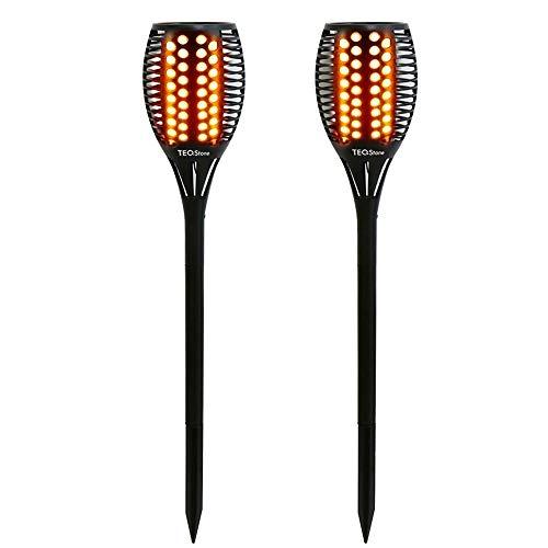 TEQStone Solarleuchte Garten Outdoor, Solarlampen für Außen LED Solar Taschenlampe, Garten Solar Fackeln, Realistischer Flackernder Flammeneffekt, IP65 Wasserdicht (2 Stück)