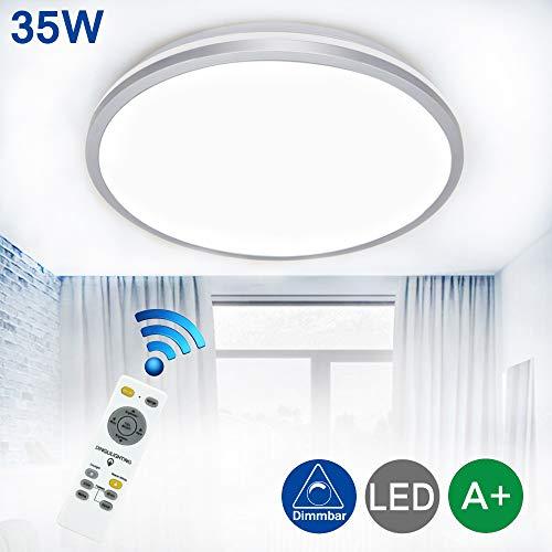 DLLT 35W LED Deckenlampe Deckenleuchte Dimmbar Silber ultradünne Deckenbeleuchtung mit Fernbedienung inkl.86-256V 2800LM 6000K Innenleuchte für Wohnzimmer,Küche,Schlafzimmer(Farbwechsel)