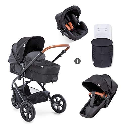 Hauck /Pacific 3 Shop N Drive / 7 teiliger Kombi Kinderwagen /Babyschale Gr. 0/ Babywanne umbaubar/ drehbarer Sitz/ Matratze/Beindecke/Fußsack /höhenverstellbarer Schieber/ leicht /Caviar