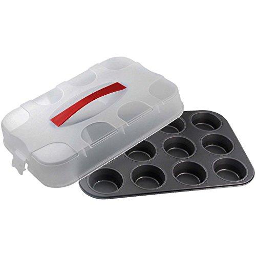 Dr. Oetker Bake & Go Muffinblech 12-er mit Transporthaube, Muffinform, für saftige Cupcakes, extra hohe Transportbox, Menge: 1 Stück