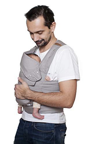 marsupi Baby- und Kindertrage, Breeze (aus leichtem Baumwoll-Leinen-Mix) Version 2.0 (lightgrey/ light gray, S/M)