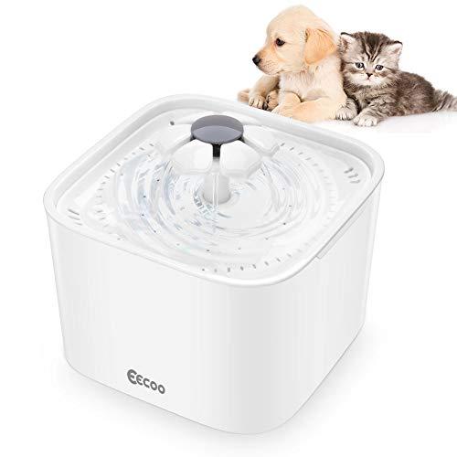 Katzen Trinkbrunnen, Haustier Blumentrinkbrunnen Automatisch Wasserbrunnen Wasserspender Katzenbrunnen für Tiere Katzen und Hunde Wasser Trinken mit Aktivkohlefilter 2.0 L Weiß