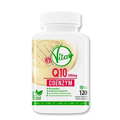 MeinVita Q10 Coenzym - 200 mg pro Kapsel, 120 Stück - Hochdosiert - 100% Vegan, Made in Germany, unterstützt Herz-Kreislaufsystem, Nerven- & Immunsystem, Well-Aging
