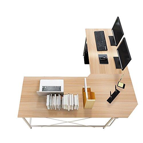 soges Eckschreibtisch Computertisch Gaming Tisch Mit L-Form Winkelschreibtischgroßer Gaming Schreibtisch Bürotisch Ecktisch Arbeitstisch PC Laptop Studie Tisch, 150 cm + 150 cm,LD-Z01-MO
