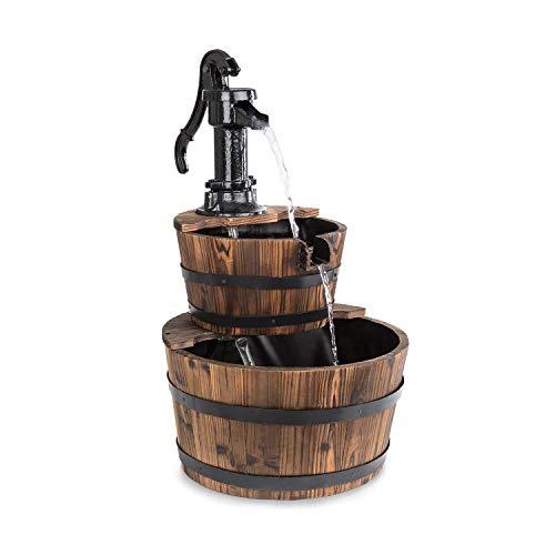 blumfeldt Cascada Doble Kaskadenbrunnen • Zierbrunnen • 2 Etagen Holzfässer • 12 Watt Pumpe • kein Wasserzulauf erforderlich • Holzbottiche aus Tannenholz • Handpumpe aus Gusseisen • braun