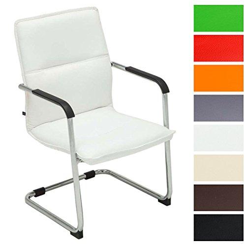 CLP Freischwinger-Stuhl mit Armlehne SEATTLE, Besucherstuhl, Konferenzstuhl gepolstert Weiß