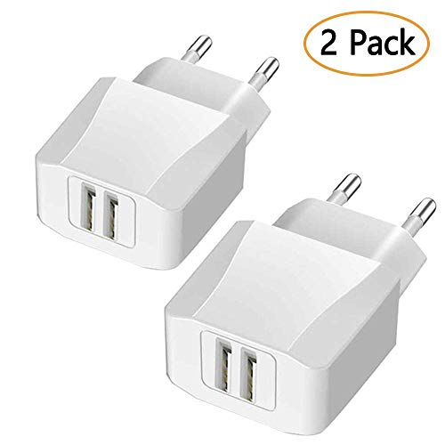 Luvfun USB Ladegerät USB Netzteil, [2-Pack] USB Stecker 2-Port (5V/2.1A) Schnelles Ladegerät Desktop Ladestation Dockingstation Ladegerät Charge Reiseadapter mit iSmart Technologie Weiß