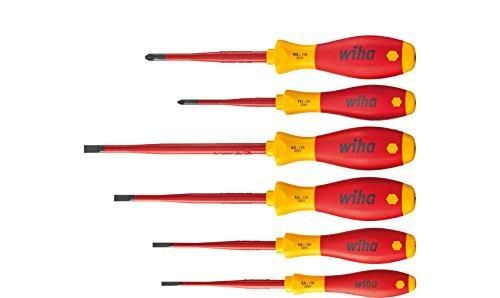 Wiha Schraubendreher Set SoftFinish electric slimFix Schlitz, Pozidriv 6-tlg. (36455) für tiefliegende Schrauben, ergonomischer Griff für kraftvolles Drehen, Allrounder für Elektriker, VDE-geprüft, stückgeprüft