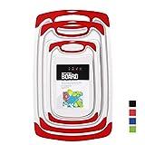 Set 3-teilig Innovatives Schneidebrett,Kunststoff-Schneidebretter, Küchen-Schneidebretter, größere Schneidematte, wendbar, leicht, kein BPA, spülmaschinenfest. (Red)