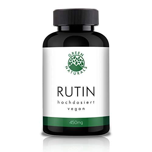 GREEN NATURALS Premium Rutin - 120 hochdosierte Kapseln á 450mg aus deutscher Herstellung – 100% Vegan & Ohne Zusätze - Vorrat für 4 Monate. Bonus Venen Ratgeber (eBook)