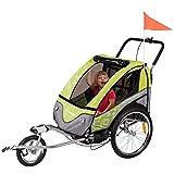 FROGGY Kinder Fahrradanhänger 360° Drehbar mit Federung + Joggerfunktion + 5-Punkt Sicherheitsgurt, 2in1 Anhänger für 1 bis 2 Kinder, Design Apple