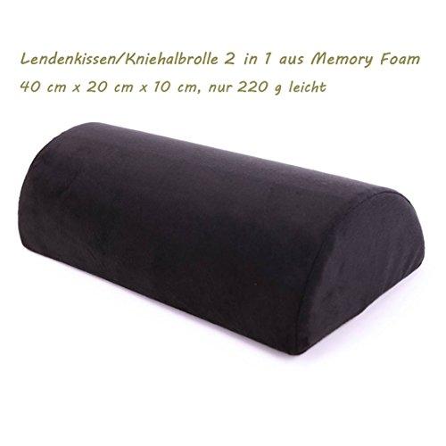 Lendenkissen Rückenkissen Kniehalbrolle Universalkissen 3 in 1 aus Visco Memory Foam Ergonomisch Bequem für Zuhause Sofa Bett Bürostuhl